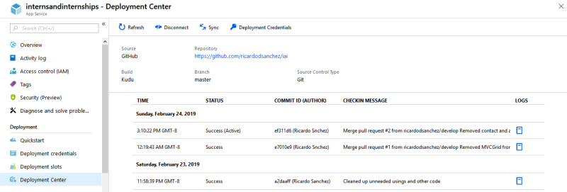 Screenshot for Azure app services continuous deployment