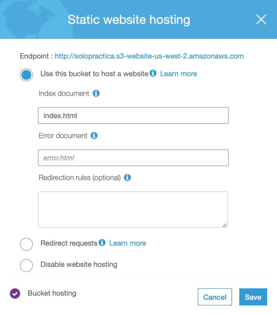 Image of static website hosting properties in AWS S3