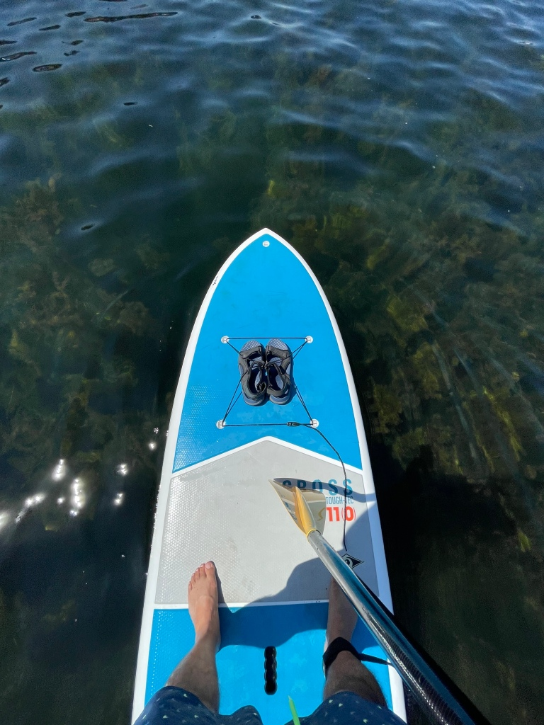 Standing on a paddleboard